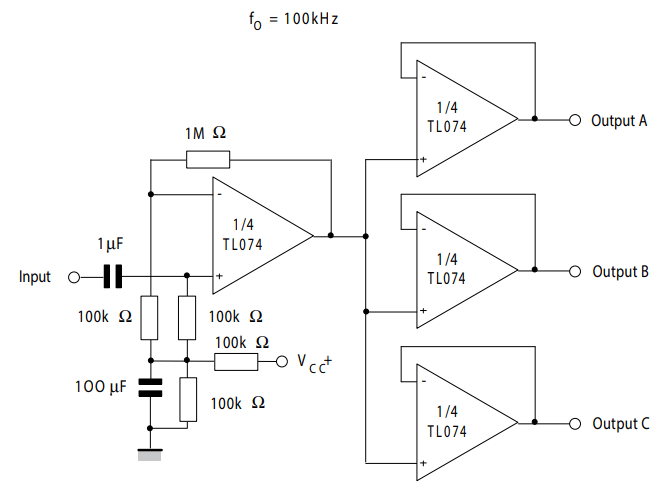 TL074 audio preamplifier example