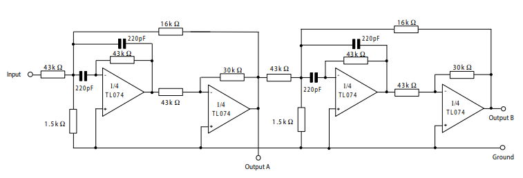 tl074 positive feedback bandpass filter circuit example