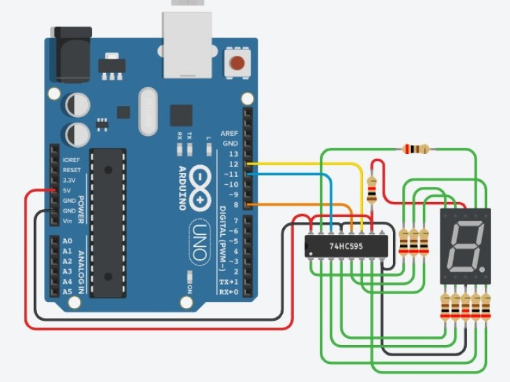 74hc595 with 7 segment and Arduino