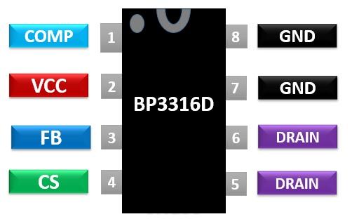 BP3316D pinout diagram APFC Offline LED Driver