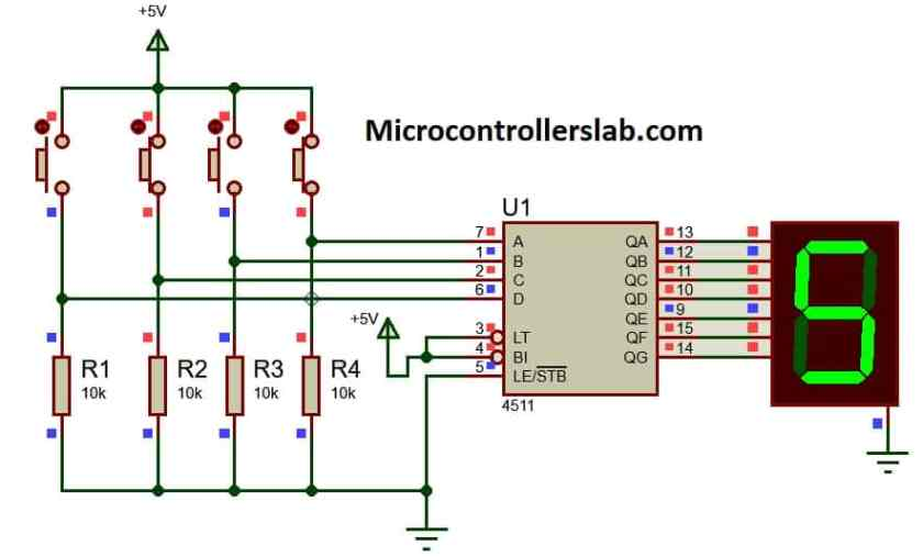 CD4511 7 segment driver example with push buttons