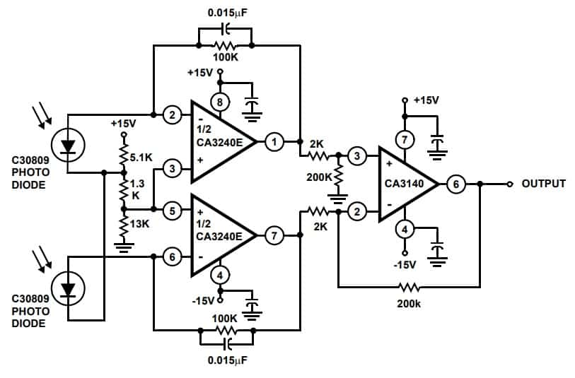 Differential Light Detector Circuit CA3240A