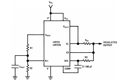LM723 simple example circuit
