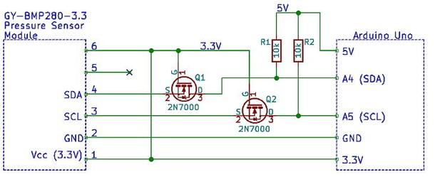 BMP280 interfacing circuit with Arduino