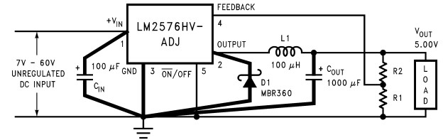 LM2576 adjustable voltage power supply circuit example