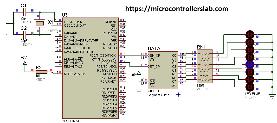 74HC595 shift register interfacing with Pic Microcontroller