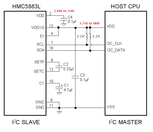 HMC5883L dual supply connection diagram with microcontroller