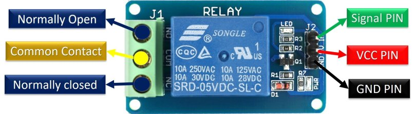 5V single channel relay module pinout diagram