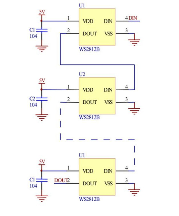 WS2812B daisy chained connection diagram