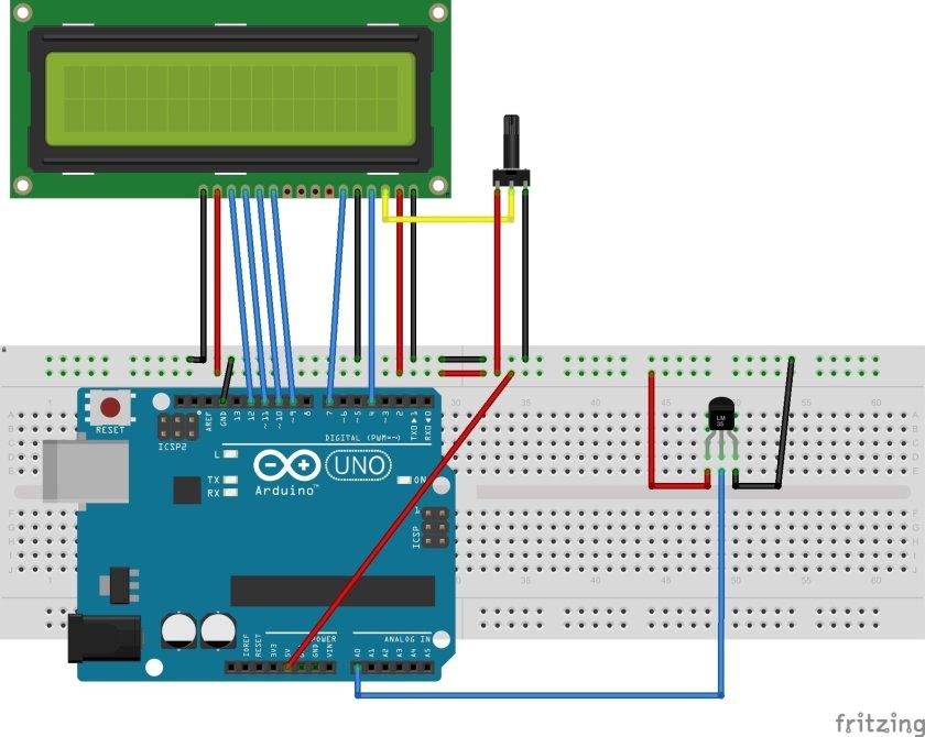 LM35 temperature sensor with Arduino