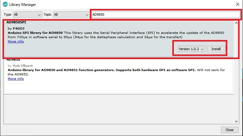 install AD9850 library in Arduino IDE