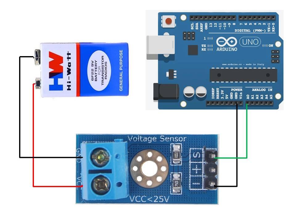 Voltage sensor module interfacing with Arduino connection diagram
