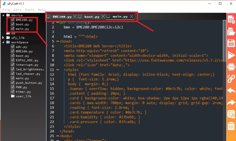 BME280 web server micropython code
