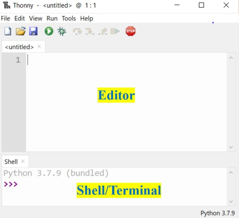 Thonny ide editor and shell windows