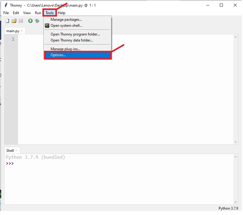 selecting board with thonny IDE