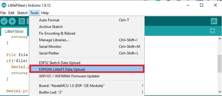 LittleFS sketch data upload to esp8266 filesystem