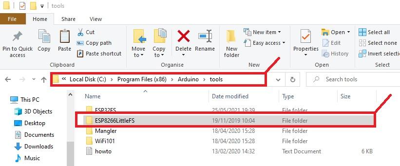 copy ESP8266LittleFS folder to Arduino tools folder