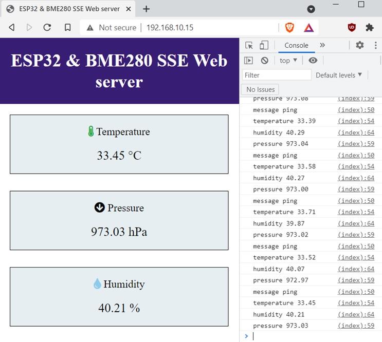 ESP32 and BME280 SSE erver sent events Web server demo console