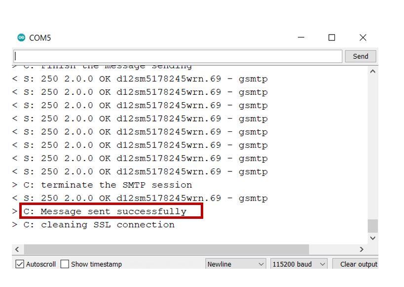 ESP32 email via SMTP server serial monitor demo2