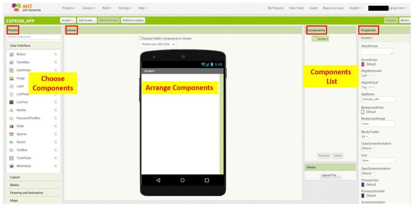 ESP8266 Google Firebase build your own app MIT Inventor 5