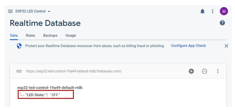 Google Firebase demo realtime database OFF