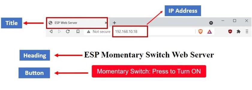 Momentary switch web server ESP32 and ESP8266 NodeMCU