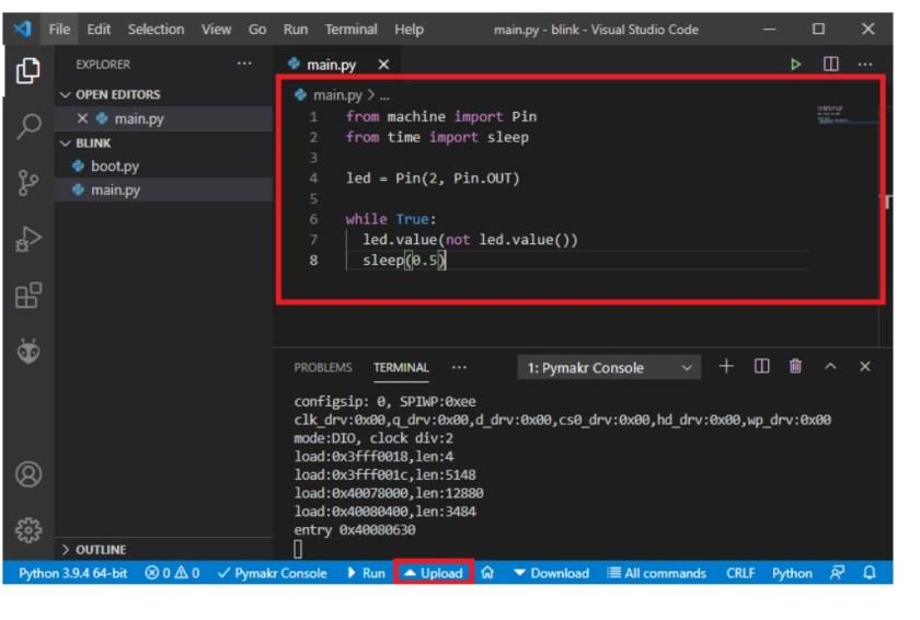 VS Code blinking led