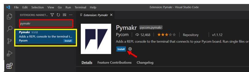 installing pymakr 2