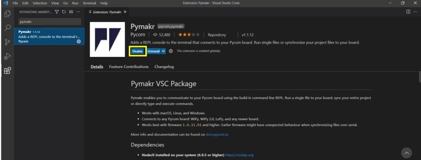 pymakr disable