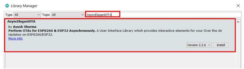 AsyncElegantOTA library install