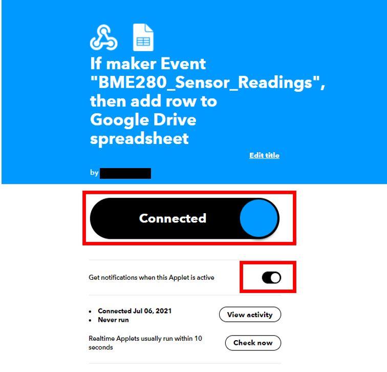 Publish sensor readings to Google Sheets IFTTT8