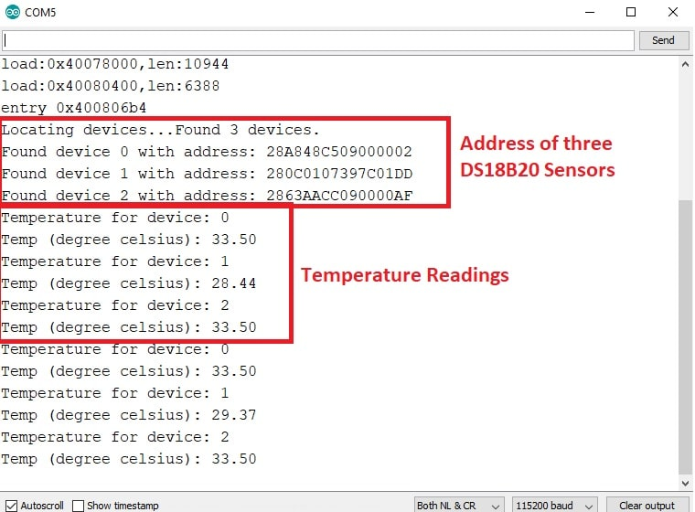 display multiple ds18b20 sensors values on Arduino serial monitor