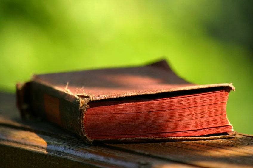 an old book sits on a wooden table outside