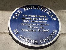Blue Plaque, St Martin's Theatre, London (Lisa CC BY-SA 2.0)