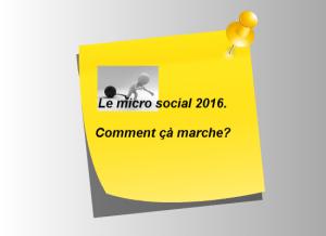 Micro entreprise : le micro social 2016
