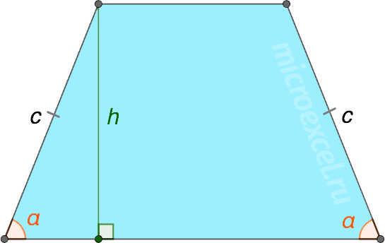 Formule pentru găsirea înălțimii unui trapezit prin părți, diagonală, colțuri între părți și diagonale, precum și prin intermediul liniei medii și pătratul trapezului