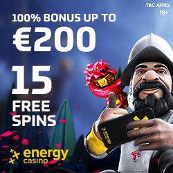 Energy Casino & Energy Bet: 15 free spins NDB   €400 welcome bonus