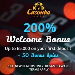 Casimba Casino Review - €6,500 bonus and 125 extra spins - play now!