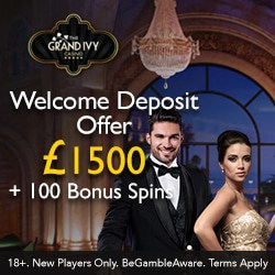 The Grand Ivy Casino £1500 & 10 bonus spins - instant rewards!