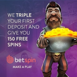 BETSPIN CASINO - 150 gratis spins and €400 bonus chips (promo codes)