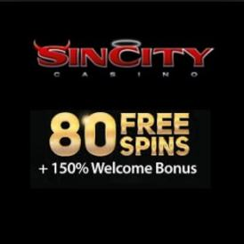 Sin City Casino - 80 gratis spins and $2000 free bonus - free play!