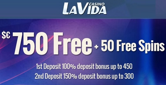 La Vida Casino 50 free spins and 250% up to €/$750 bonus