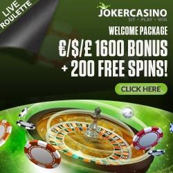 Joker Casino   €1600 gratis + 200 free spins + no deposit bonus