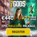 7 Gods Casino – $440 bonus and 77 free spins – win big jackpots!