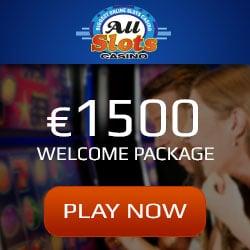 All Slots Casino €1500 bonus + 100 free spins on Mega Moolah