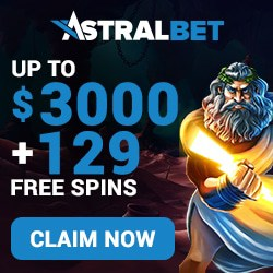 AstralBet Casino welcome bonus: €3000 and 129 free spins