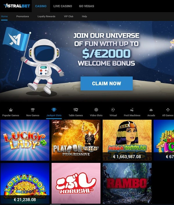 AstralBet Casino free games and big winners