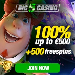 How to get 500 free spins and 100% bonus to Big5 Casino?