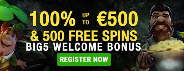 Big5 Casino 5 gratis spins + 100% bonus + 500 free spins