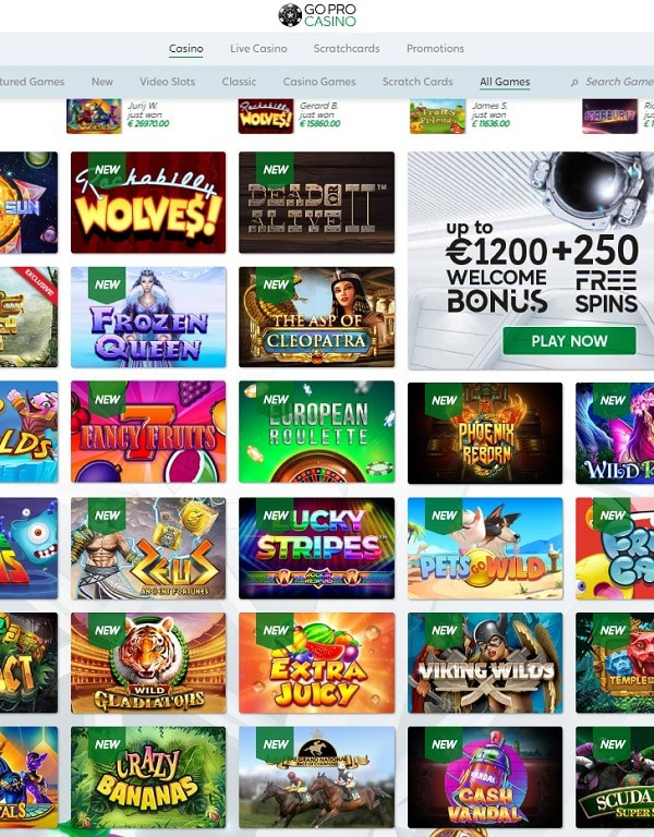 GoPro Casino games and software review